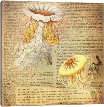 J - Jellyfish Square Canvas Art Print