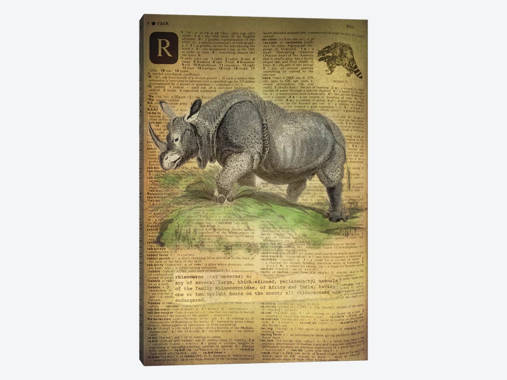R - Rhino by 5by5collective 1-piece Canvas Print