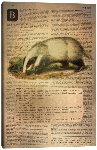 B - Badger Canvas Art Print