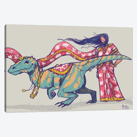 Raptor From Another Timeline Canvas Print #AAN27} by Annada N. Menon Canvas Art Print