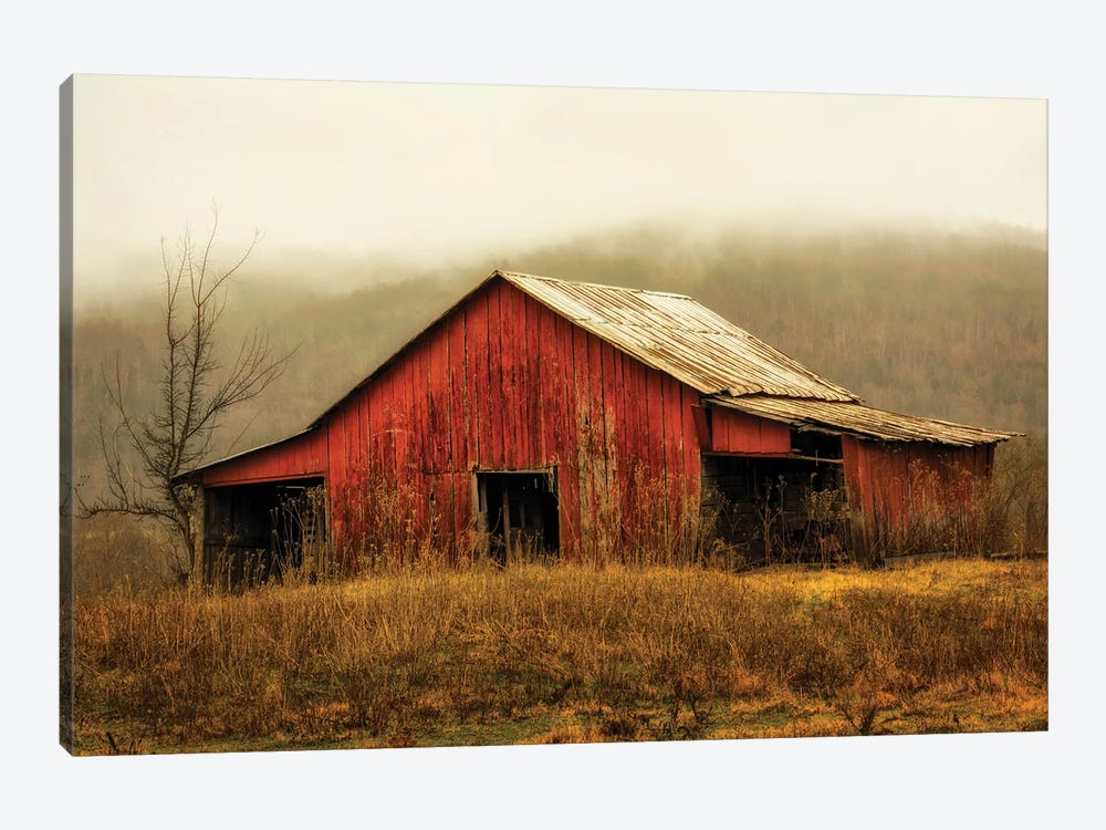 Skylight Barn in the Fog by Andy Amos 1-piece Canvas Art Print
