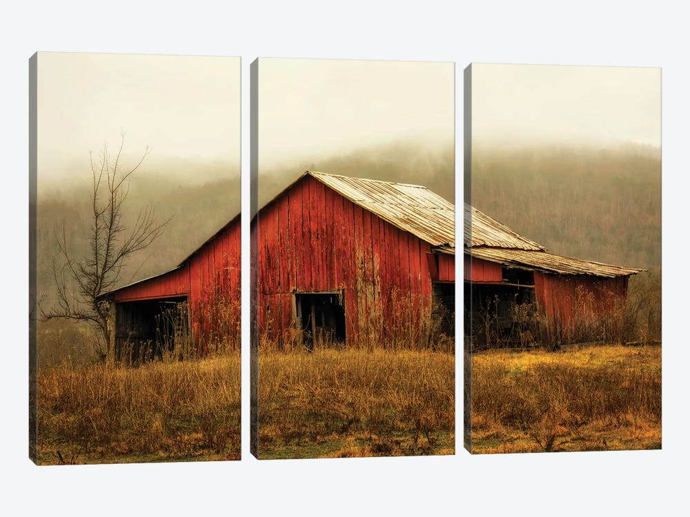 Skylight Barn in the Fog by Andy Amos 3-piece Canvas Art Print