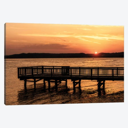 Lake Sunset Canvas Print #AAS9} by Andy Amos Canvas Art Print