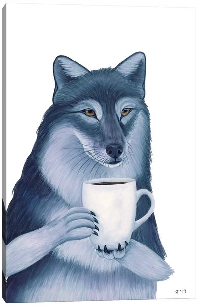 Coffee Wolf Canvas Art Print