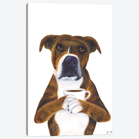 Coffee Cup Dog Canvas Print #AAT1} by Alasse Art Canvas Artwork