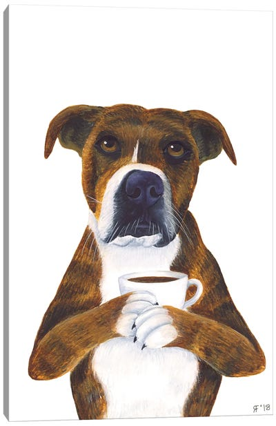 Coffee Cup Dog Canvas Art Print