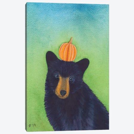Pumpkin Black Bear Canvas Print #AAT37} by Alasse Art Canvas Wall Art