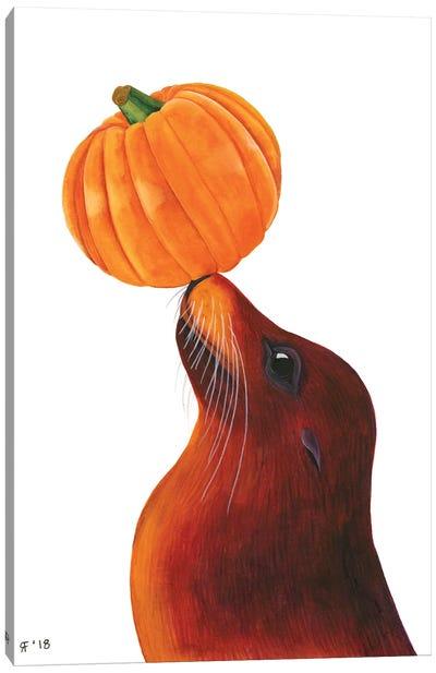 Pumpkin Sea Lion Canvas Art Print