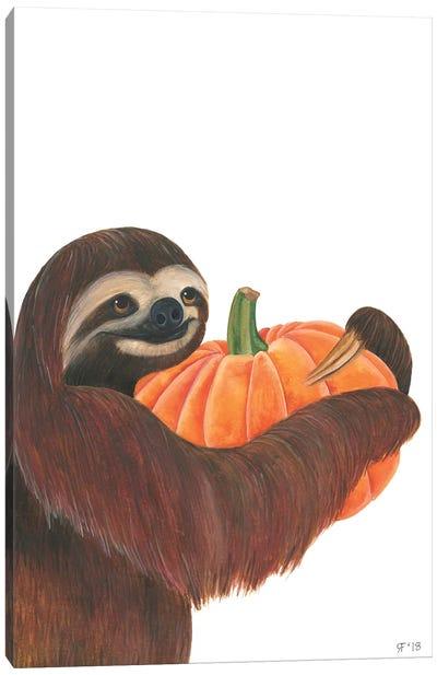 Pumpkin Sloth Canvas Art Print