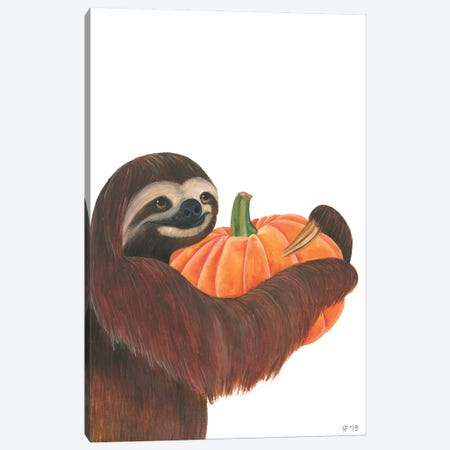 Pumpkin Sloth 3-Piece Canvas #AAT41} by Alasse Art Canvas Artwork