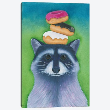 Racoon With Donuts Canvas Print #AAT42} by Alasse Art Canvas Art