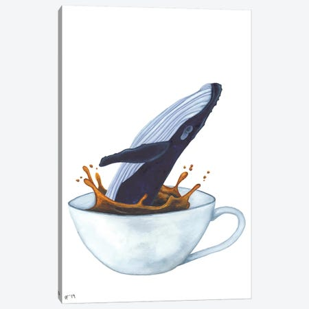 Teacup Whale Canvas Print #AAT59} by Alasse Art Canvas Art Print