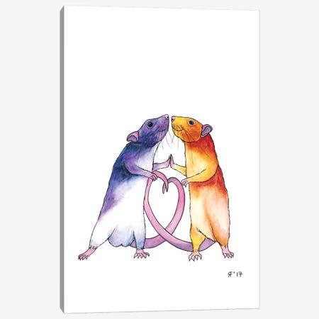 Valentines Rat Card 3-Piece Canvas #AAT62} by Alasse Art Canvas Artwork