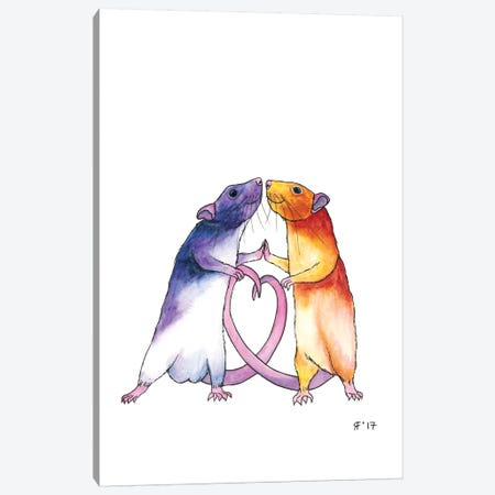 Valentines Rat Card Canvas Print #AAT62} by Alasse Art Canvas Artwork