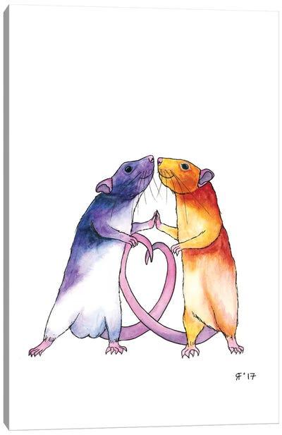 Valentines Rat Card Canvas Art Print