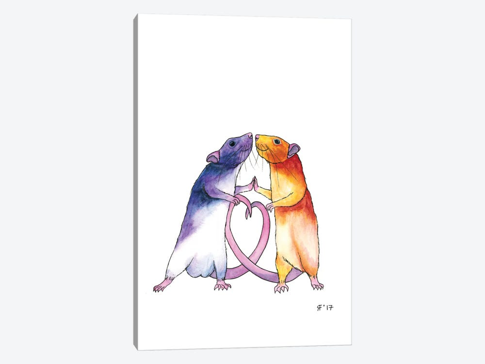 Valentines Rat Card by Alasse Art 1-piece Canvas Artwork