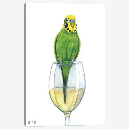 Wine Parakeet White Canvas Print #AAT69} by Alasse Art Canvas Wall Art