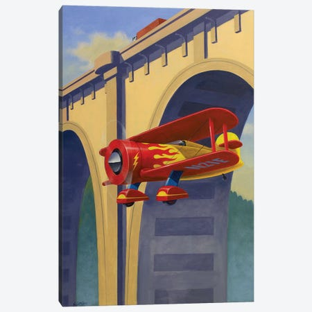 Buzzing The Bridge Canvas Print #AAW14} by Anvil Artworks Canvas Print