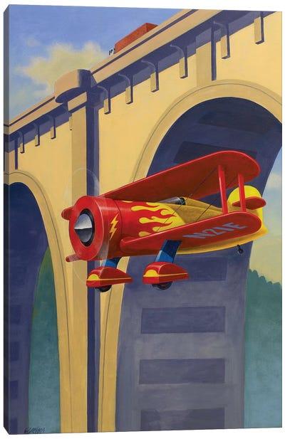 Buzzing The Bridge Canvas Art Print