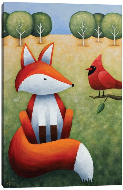 Frankie And The Cardinal Canvas Art Print
