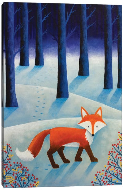 Frankie In The Snow Canvas Art Print