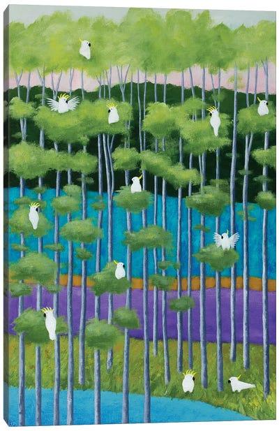 Green Birch And Birds Canvas Art Print
