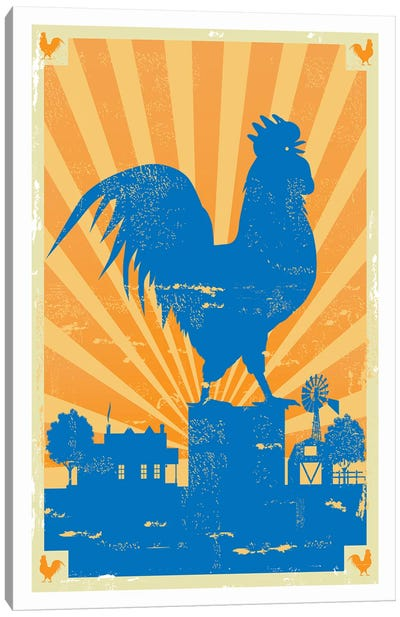 Grunge Rooster Canvas Art Print