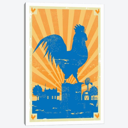 Grunge Rooster Canvas Print #AAW37} by Anvil Artworks Art Print