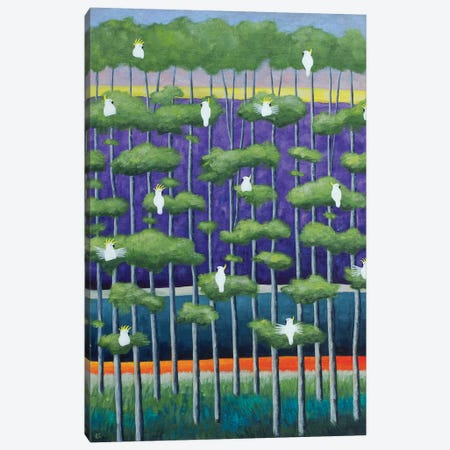 Purple Birch And Birds Canvas Print #AAW50} by Anvil Artworks Canvas Artwork