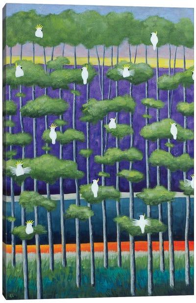 Purple Birch And Birds Canvas Art Print