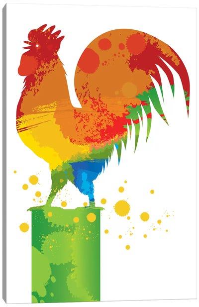 Rooster Splash Canvas Art Print