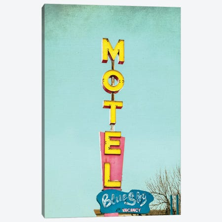 Blue Sky Motel Canvas Print #ABA11} by Little Cabin Art Prints Canvas Artwork