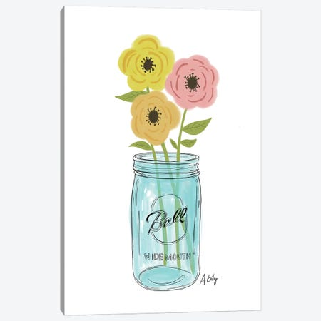 Country Flowers Canvas Print #ABA19} by Little Cabin Art Prints Canvas Artwork