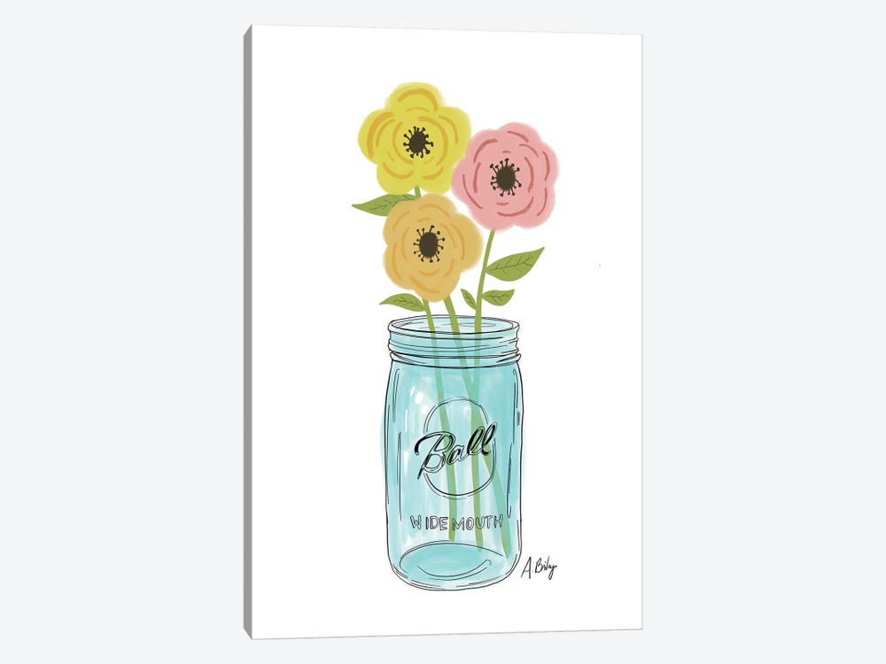 Country Flowers by Little Cabin Art Prints 1-piece Canvas Art Print