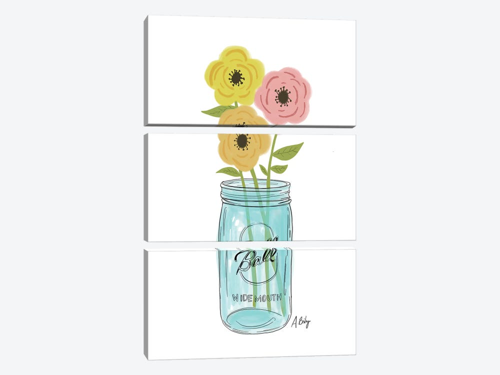 Country Flowers by Little Cabin Art Prints 3-piece Canvas Print
