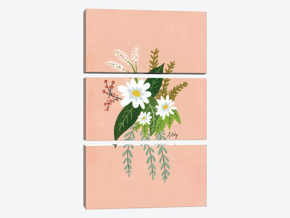 Folk Art Flowers I by Little Cabin Art Prints 3-piece Canvas Wall Art