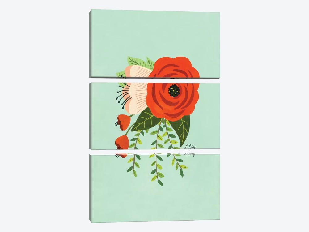 Folk Art Flowers II by Little Cabin Art Prints 3-piece Canvas Print