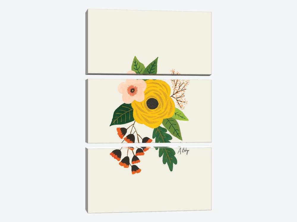 Folk Art Flowers III by Little Cabin Art Prints 3-piece Canvas Art