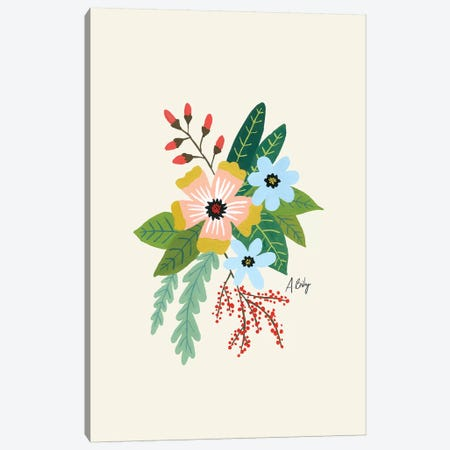 Folk Art Flowers IV Canvas Print #ABA30} by Little Cabin Art Prints Canvas Artwork