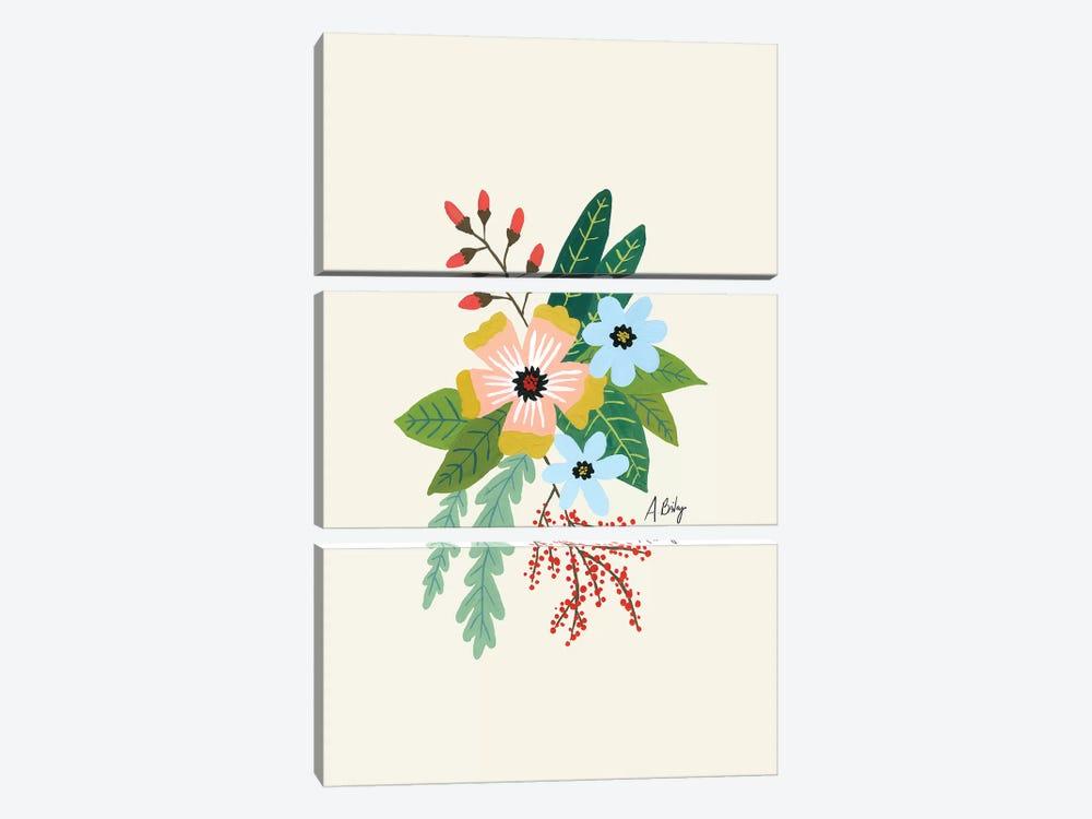 Folk Art Flowers IV by Little Cabin Art Prints 3-piece Canvas Wall Art