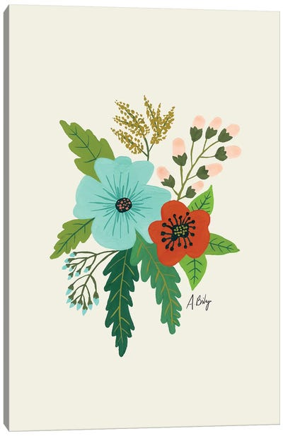 Folk Art Flowers V Canvas Art Print
