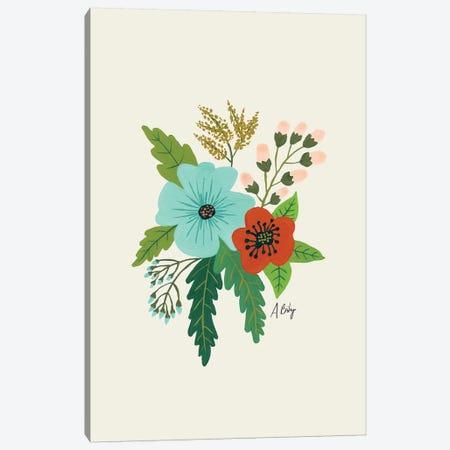 Folk Art Flowers V Canvas Print #ABA31} by Little Cabin Art Prints Canvas Art