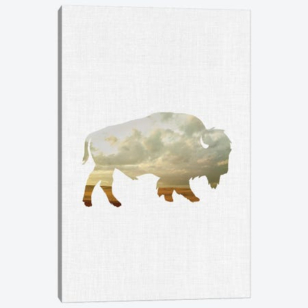 Bison And Plains Canvas Print #ABA9} by Little Cabin Art Prints Canvas Art Print