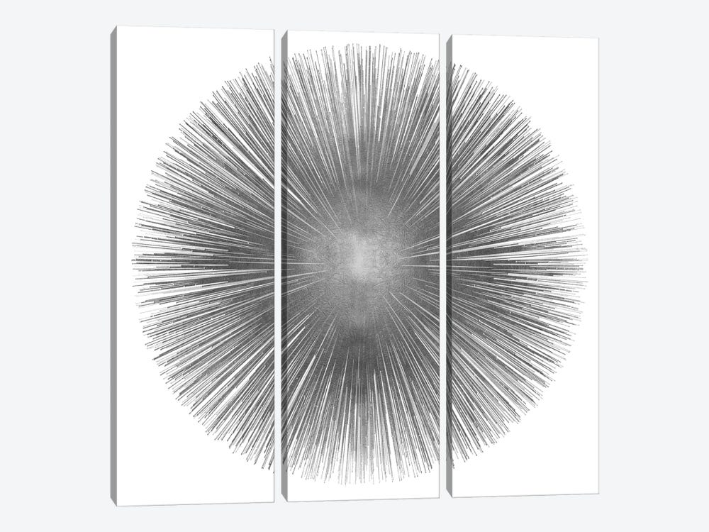 Silver Sunburst I 3-piece Canvas Wall Art