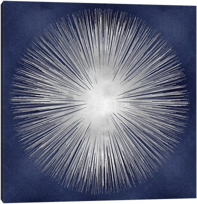 Silver Sunburst On Blue I Canvas Art Print