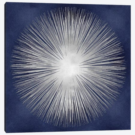 Silver Sunburst On Blue I 3-Piece Canvas #ABB12} by Abby Young Art Print