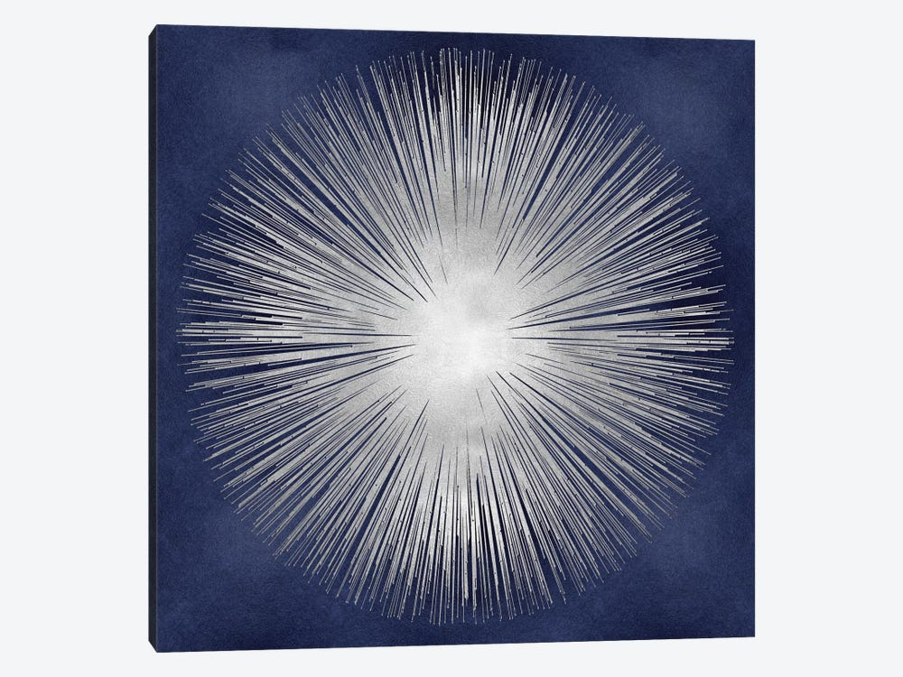 Silver Sunburst On Blue I by Abby Young 1-piece Canvas Art