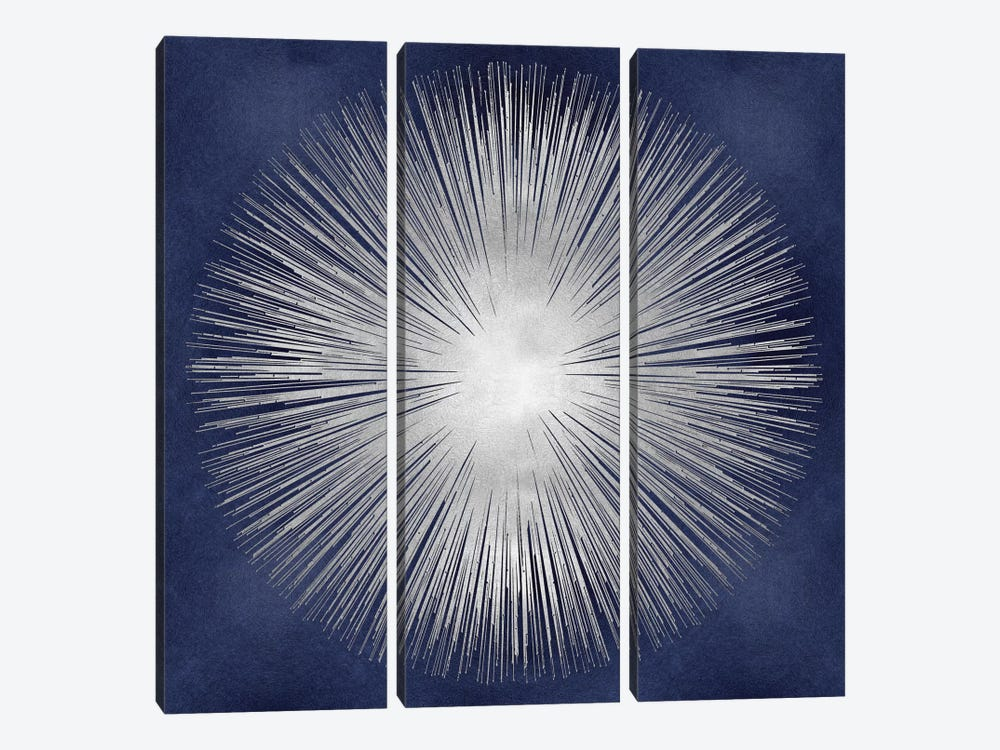 Silver Sunburst On Blue I by Abby Young 3-piece Canvas Wall Art