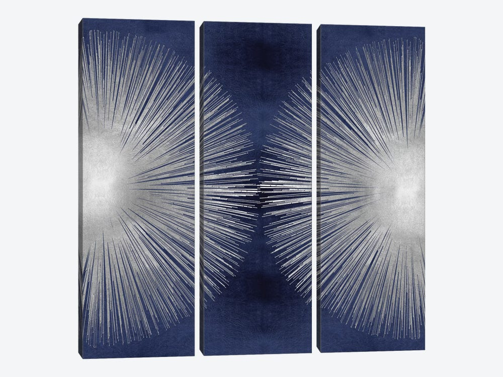 Silver Sunburst On Blue II by Abby Young 3-piece Art Print