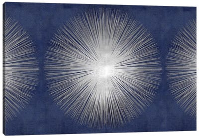 Silver Sunburst On Blue III Canvas Art Print